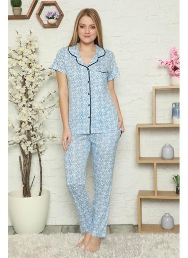 Akbeniz Kadın %100 Pamuk Önden Düğmeli Kısa Kol Pijama Takım 2801 Mavi